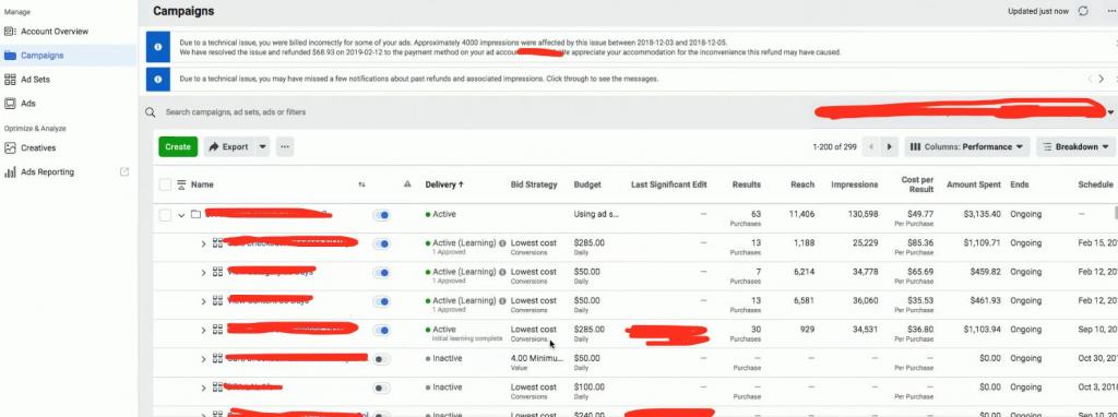Первые скриншоты обновленного AdsManager для Facebook