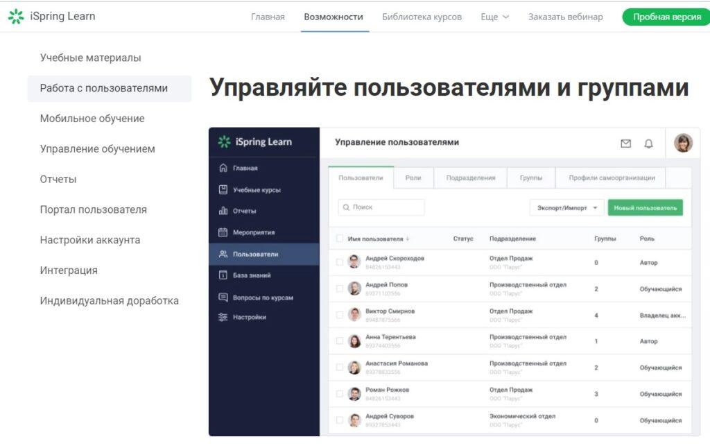 Интерфейс СДО iSpring Learn