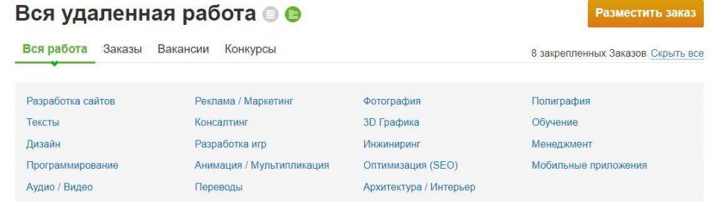 Категории заказов на Fl.ru